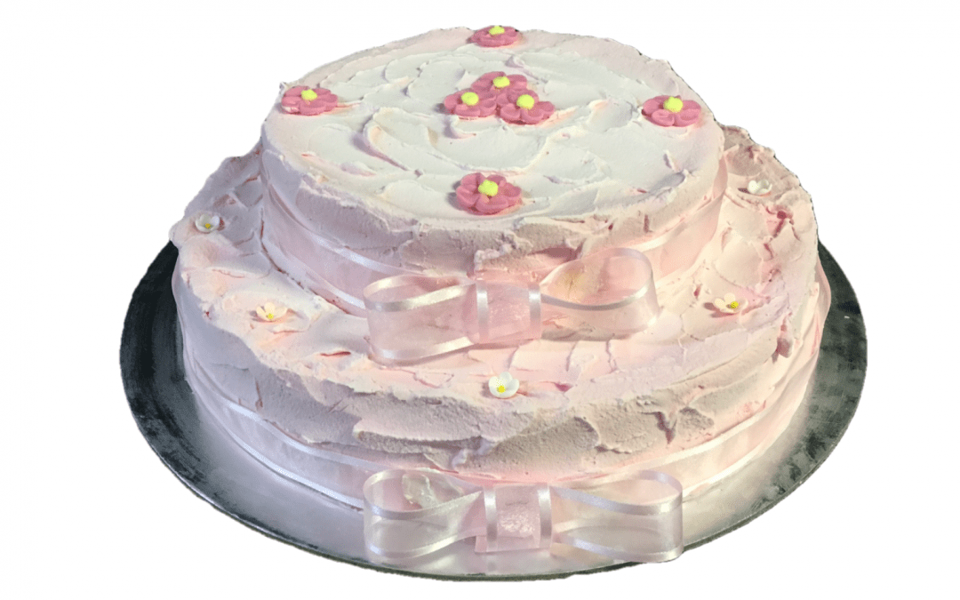 2 Tier Baby Pink Cream Spatula Finish Organza Ribbon+Flowers