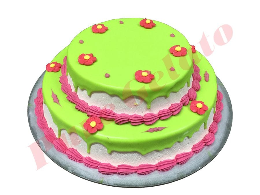 2 Tier Lime Green Choc Drip Pink Piping+Pink Flowers