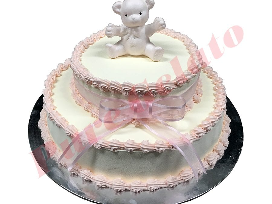 2 Tier Smooth Cream Baby Pink Piping Ribbon+Bear