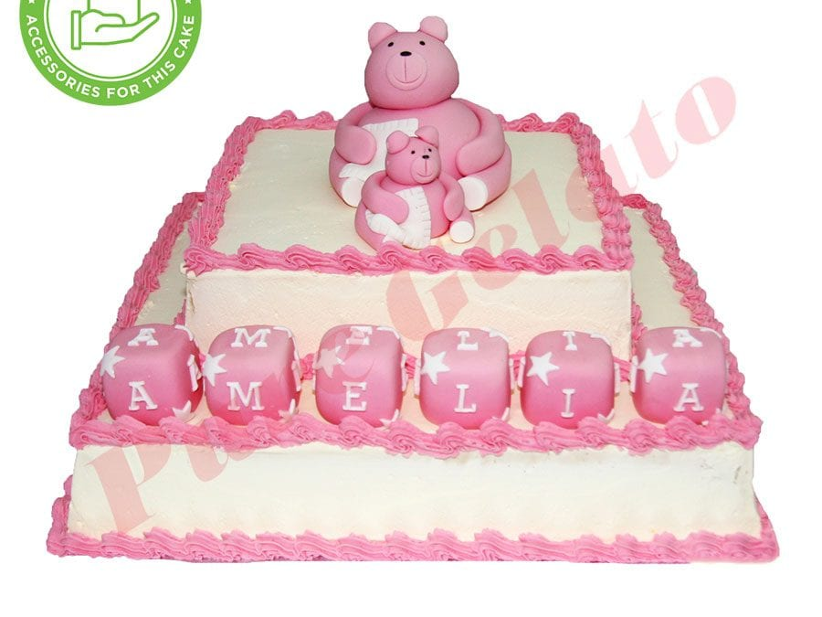 2 Tier Smooth Cream Square Pink Piping+Customers Accessories