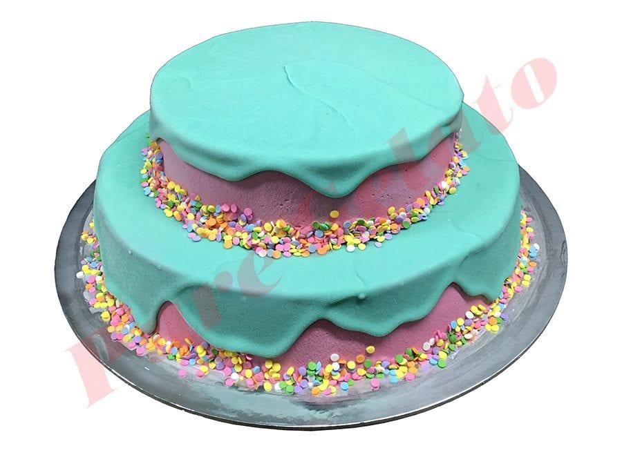 2 Tier Teal Choc Drip Pink Smooth Cream+Sprinkles