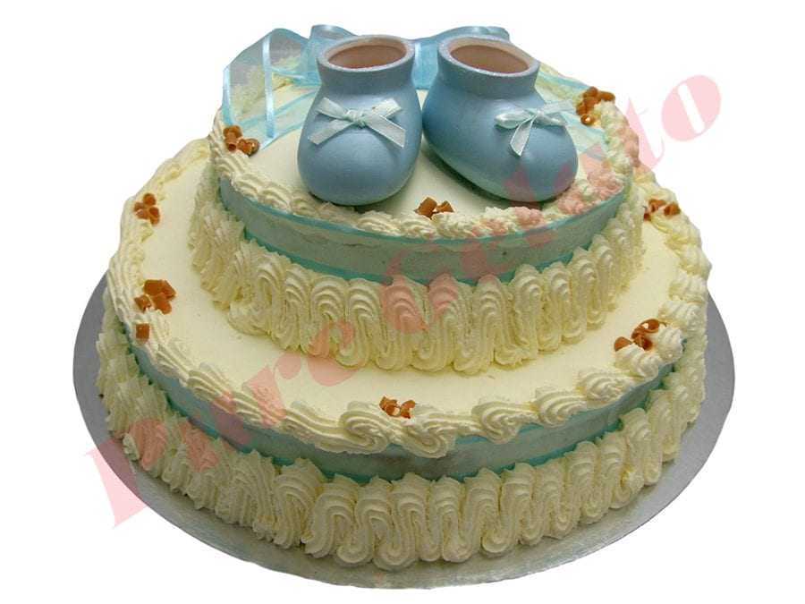 2 Tier Traditional Decorated Baby Blue Ribbon+Booties