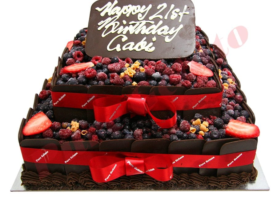 2 Tier Cake Chocolate Berry Square+Chocolate Sides
