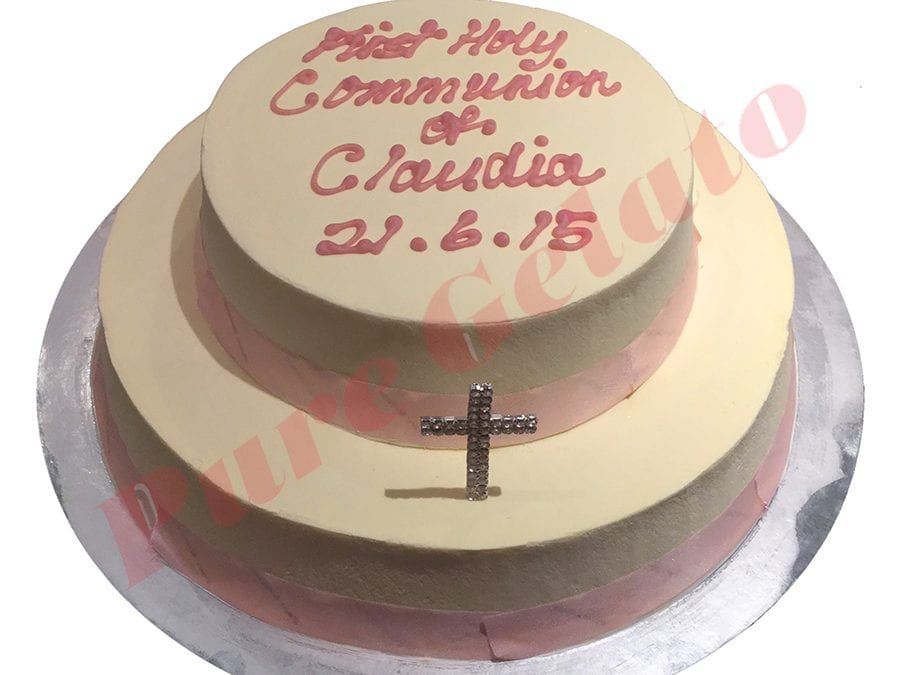 2 Tier Cake Light pink smooth cream Ribbon+Cross