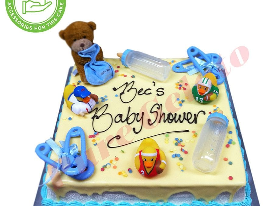Baby Shower White Choc Drip Blue Piping Customers Acc(1)