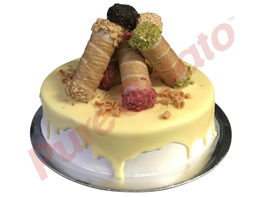 Cannoli Gelato Cake White Choc-drip Cannoli Cluster