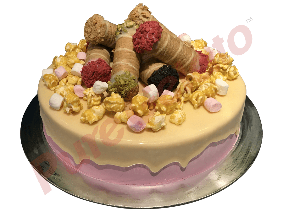 Cannoli Gelato Cake With Cluster White Choc Drip Pink Cream