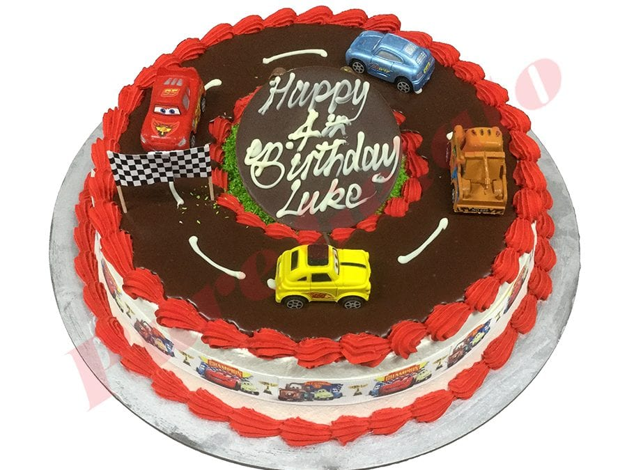 Cars Cake 20 Person Red Piping Cars Ribbon Cars Themed