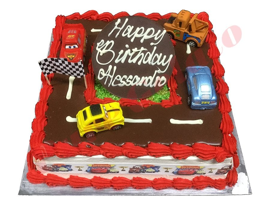 Cars Cake 20 Person Square Red Piping Cars Ribbon