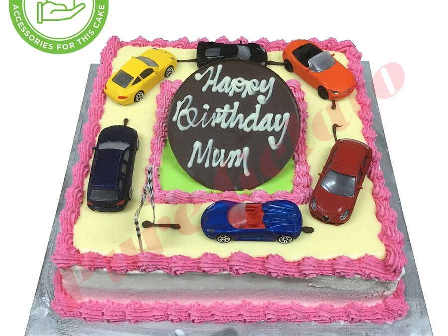 Cars Cake 20 square Smooth Cream Pink Piping+Customers Acc
