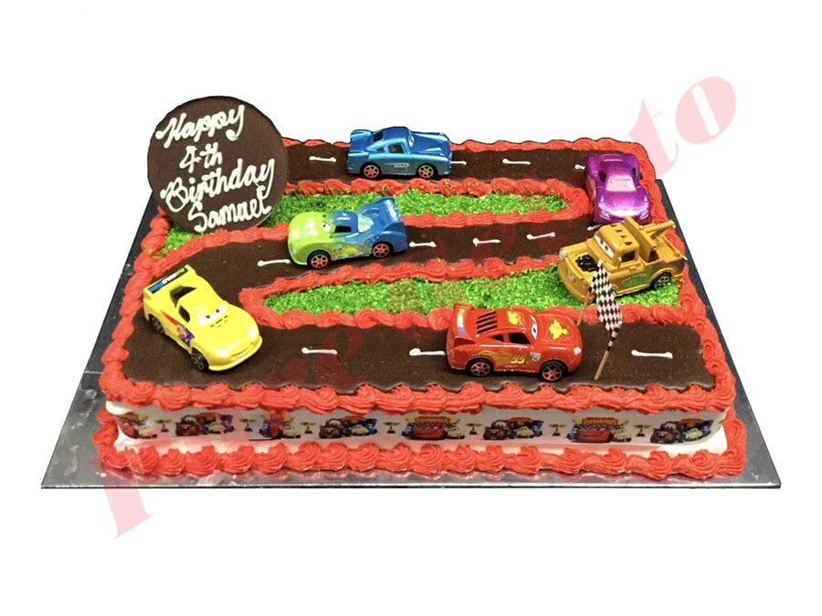 Cars Cake 60 Person Rectangle Red Piping Cars Ribbon