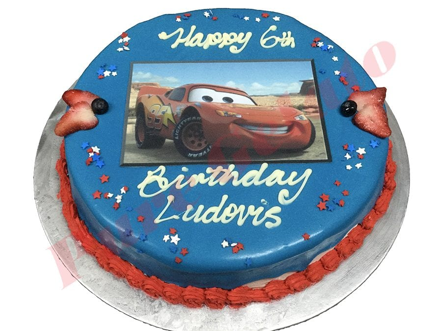 Cars Cake Blue Choc Drip Red Piping+Image