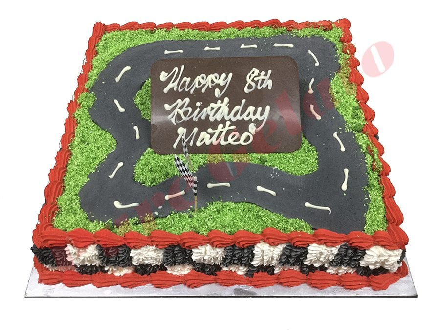 Cars Cake Checked Piping Side Red Piping+Track