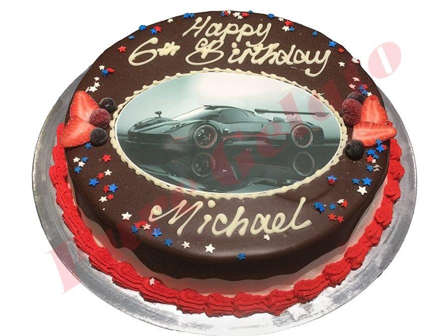Cars Cake Choc Drip Red Piping+Image+Sprinkles
