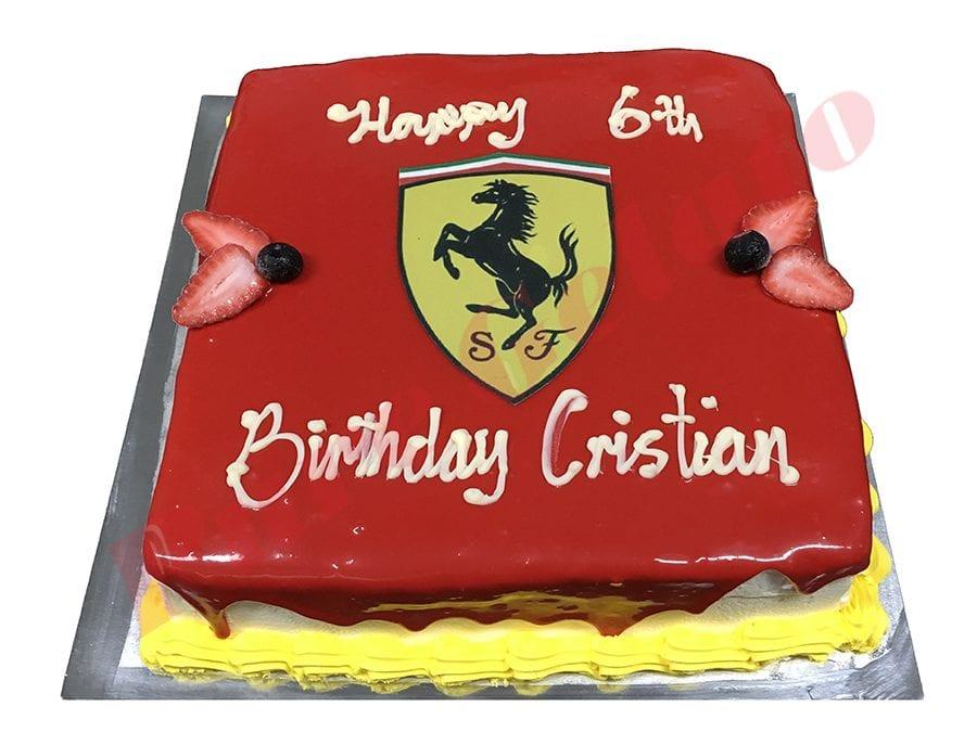 Cars Cake Ferrari Red Choc Drip Yellow Piping+Image 20 Square