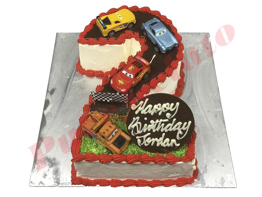 Cars Cake Numeral 2 Red Piping Cars Theme
