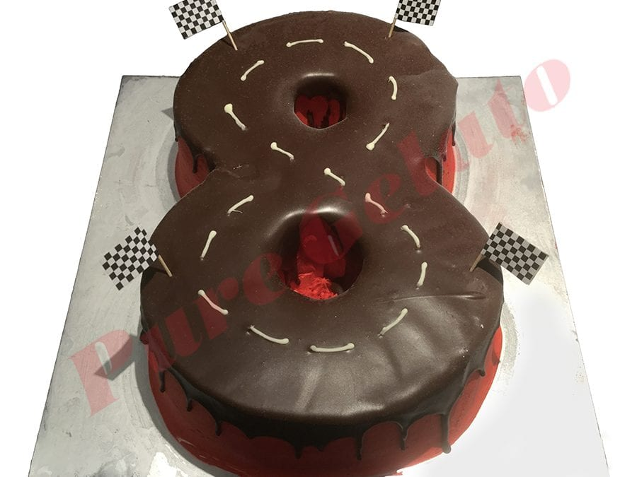 Cars Cake Numeral 8 Choc Drip Track+Flags Red Cream