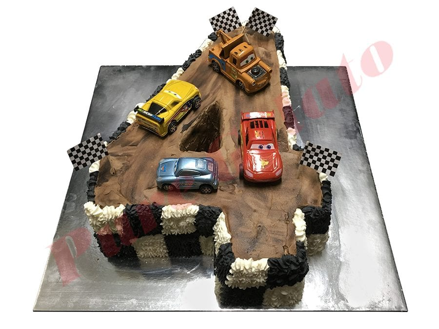 Cars Cake Numeral Checked piped Sides Chocolate Track
