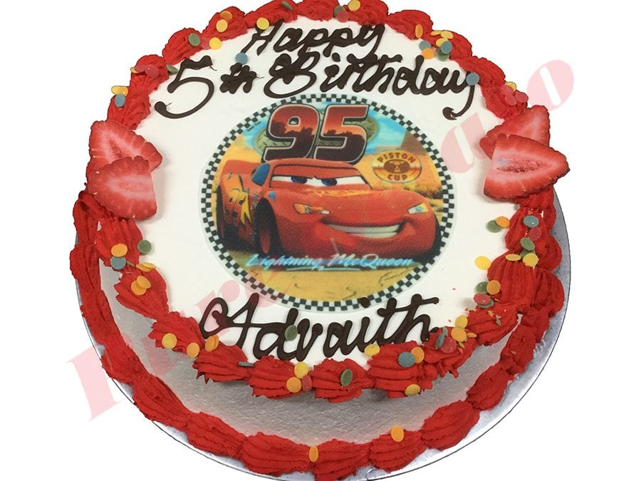 Cars Cake Smooth Cream Red Piping+Cars Image+Dot Sprinkles