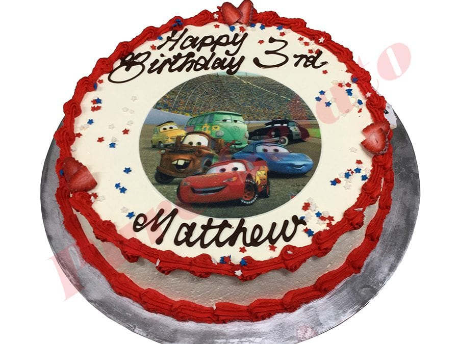Cars Cake Smooth Cream Red Piping+Cars Image+Stars
