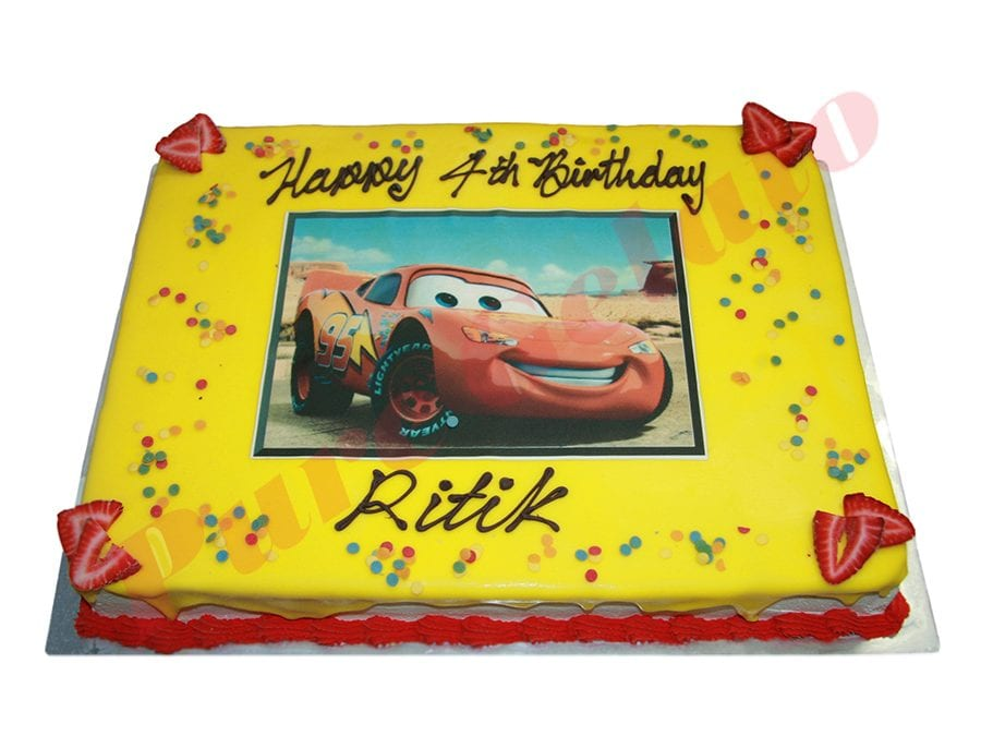 Cars Cake Yellow Choc Drip Red Piping+Image 80 person