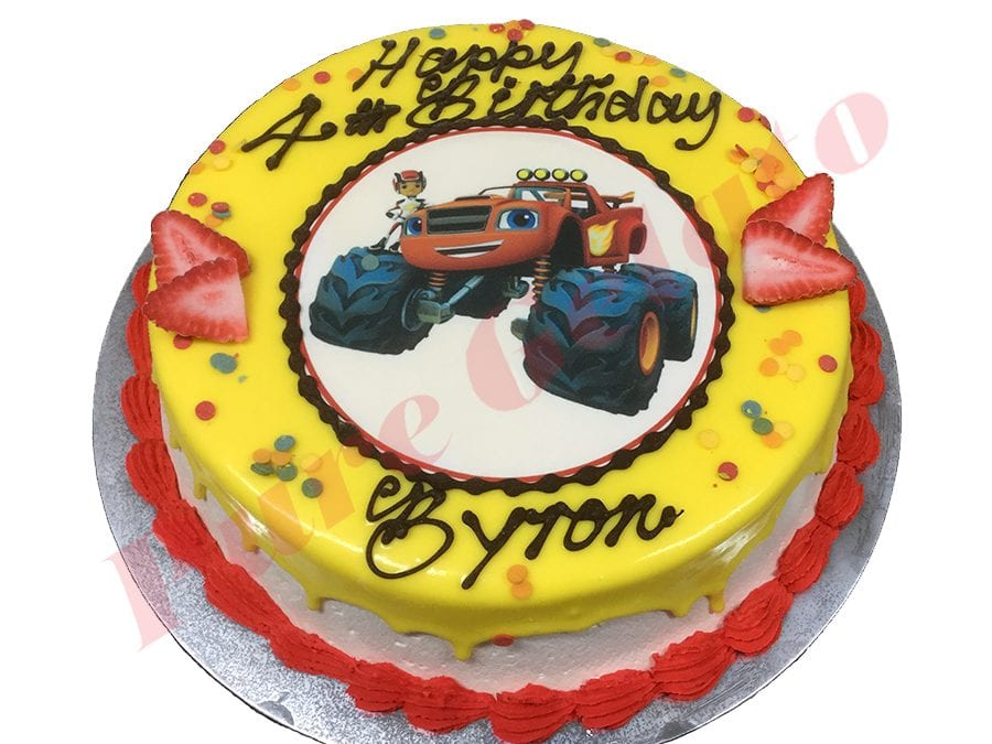 Cars Cake Yellow Choc Drip Red Piping+Image