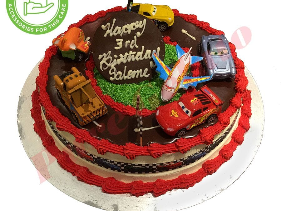 Cars and Planes Cake 20 Person Red Piping Cars Ribbon
