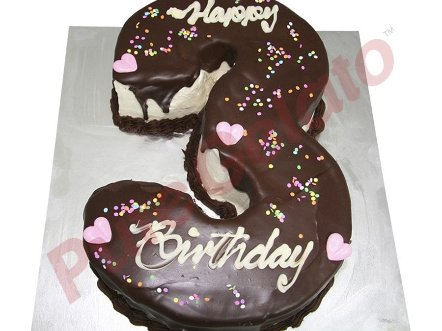 Choc Drip Numeral 3 Choc Piping Hearts+Sprinkles