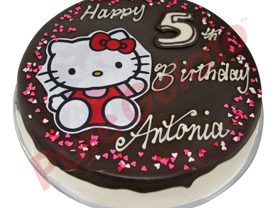 Choc Drip Round Hello Kitty Image+Heart Sprinkles