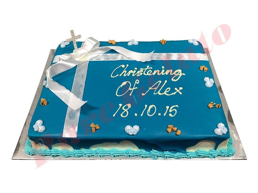 Christening Blue Choc Drip White Ribbon+Diamonte Cross