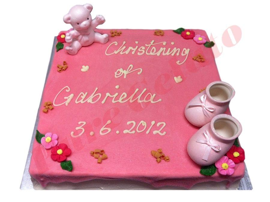 Christening Cake Pink Choc Drip+Bear+Booties