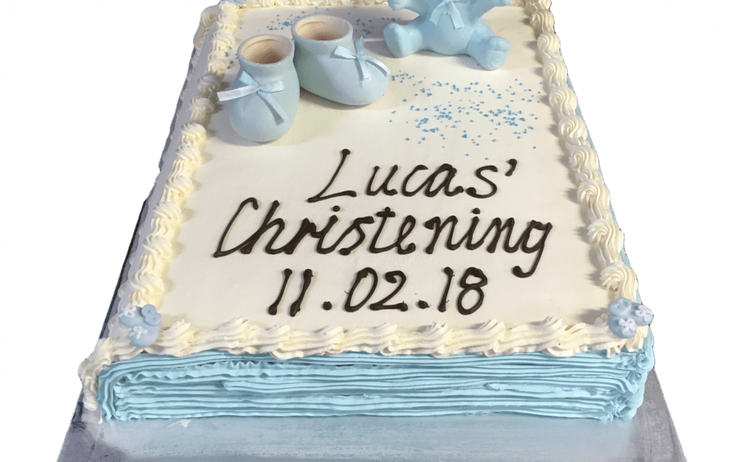 Christening Closed Bible Cake Blue Pages+Bear Booties
