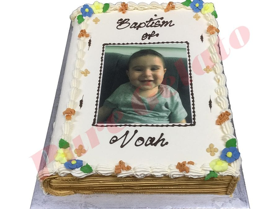 Christening Closed Bible Cake Gold Pages+Image