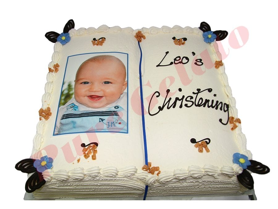 Christening Open Bible Cake White Pages+Image