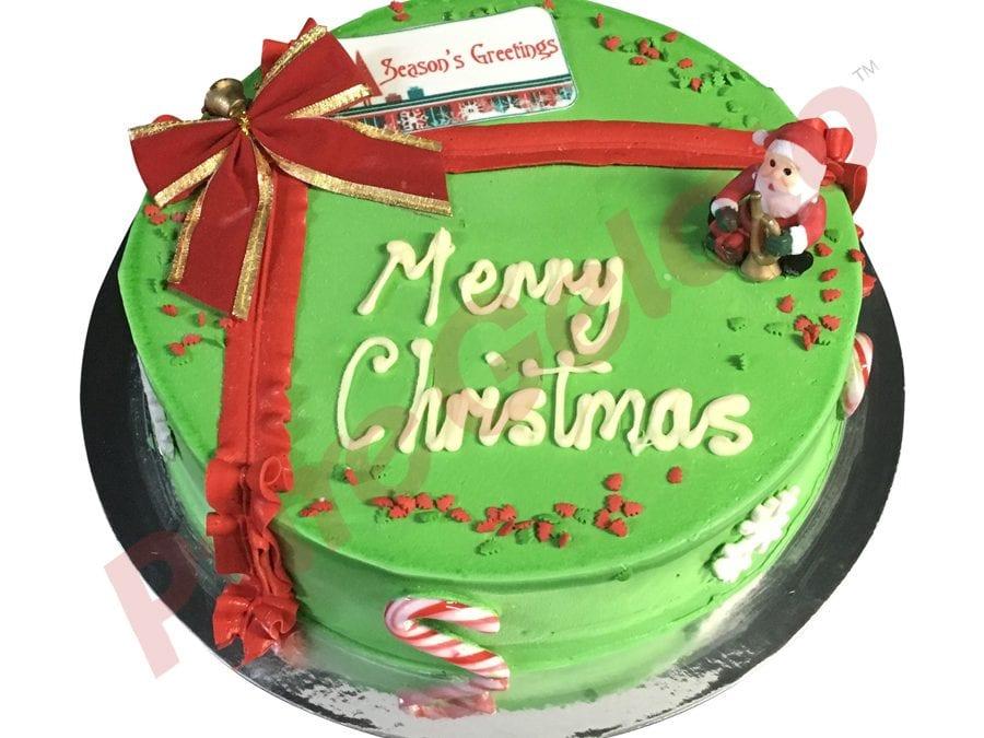 Christmas Cake Green Smooth Cream+Christmas Decorated