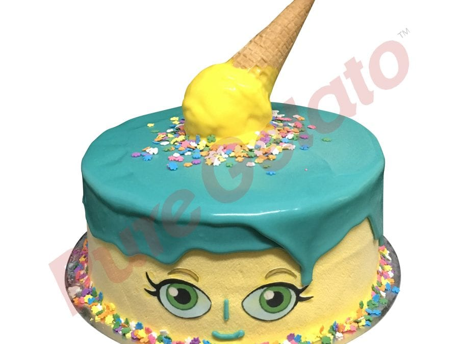 Double Stack teal Choc Drip yellow cream upside down cone shopkins