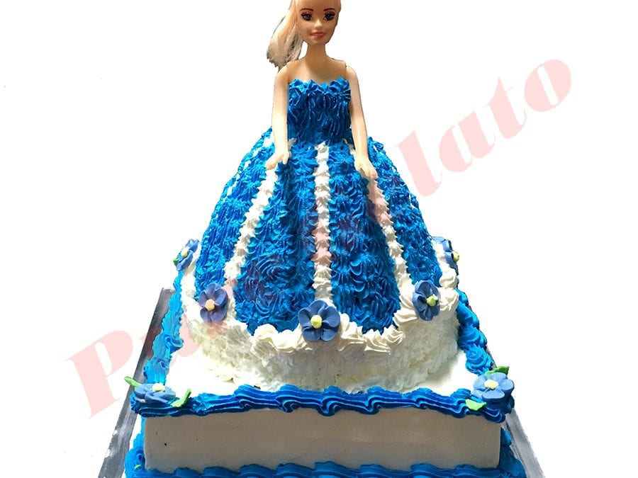 Doll Cake 2 Tier Blue Dress+White piping