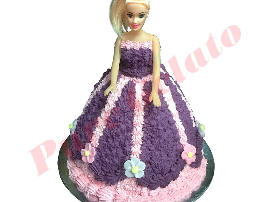 Doll Cake Purple Dress Baby Pink piping