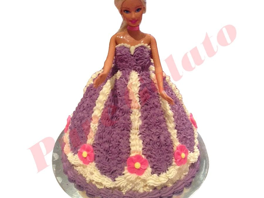 Doll Cake Purple Dress White piping