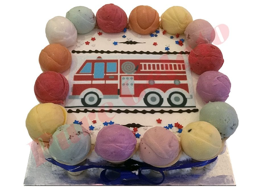 Fire Truck Cake Scoop Edges Only+Image