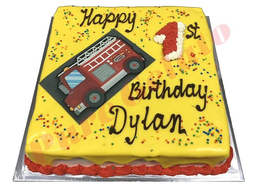 Fire Truck Cake Yellow Choc Drip Red Piping+Image