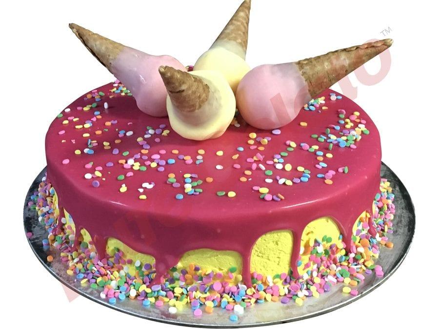Upside Down Mini Cone Cake Pink Choc Drip Yellow Cream Sprinkles