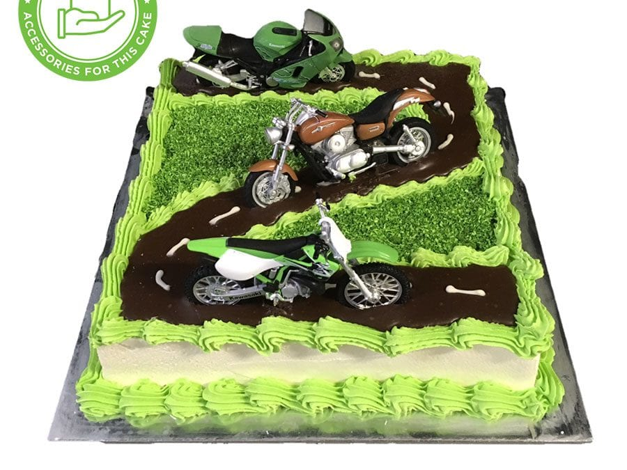 Motorcycle Cake Smooth Cream Green Piping+Customers Acc