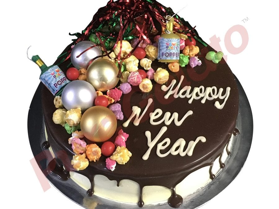 New Years Cake Chocolate Drip Cluster With Party Decorations