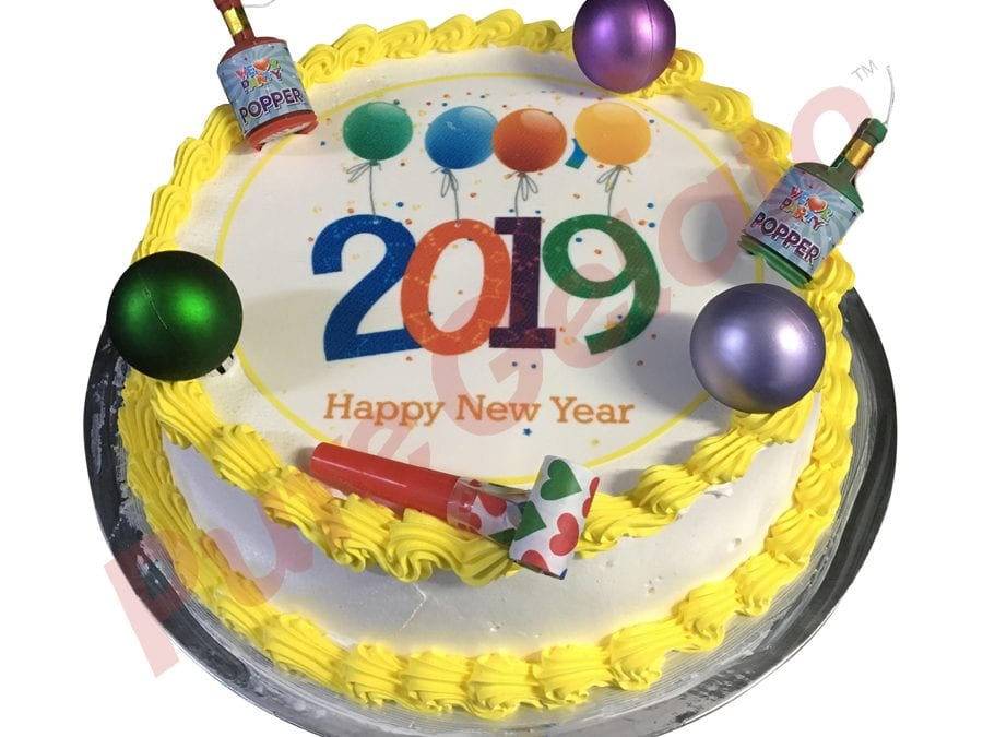 New Years Cake Smooth Cream Yellow Piping+Party Decorations