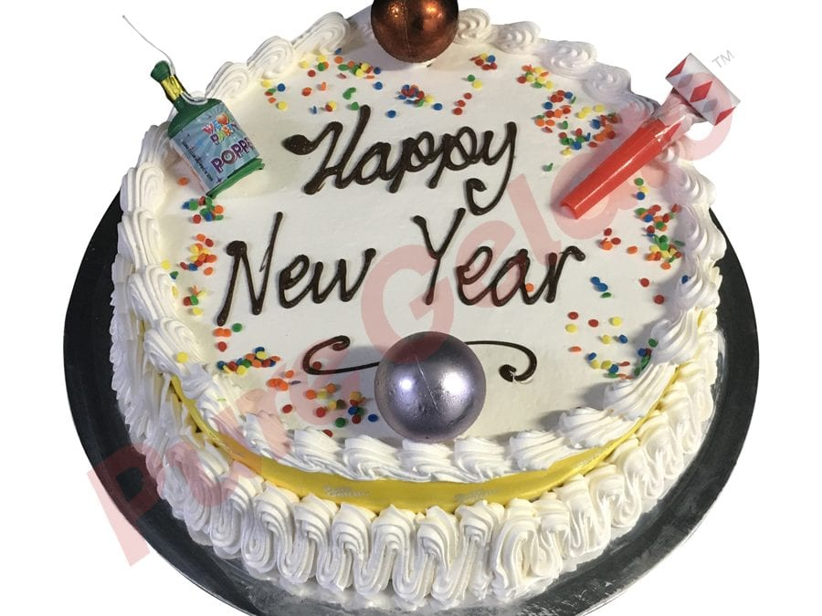 New Years Cake Traditional Yellow Ribbon With Party Decorations