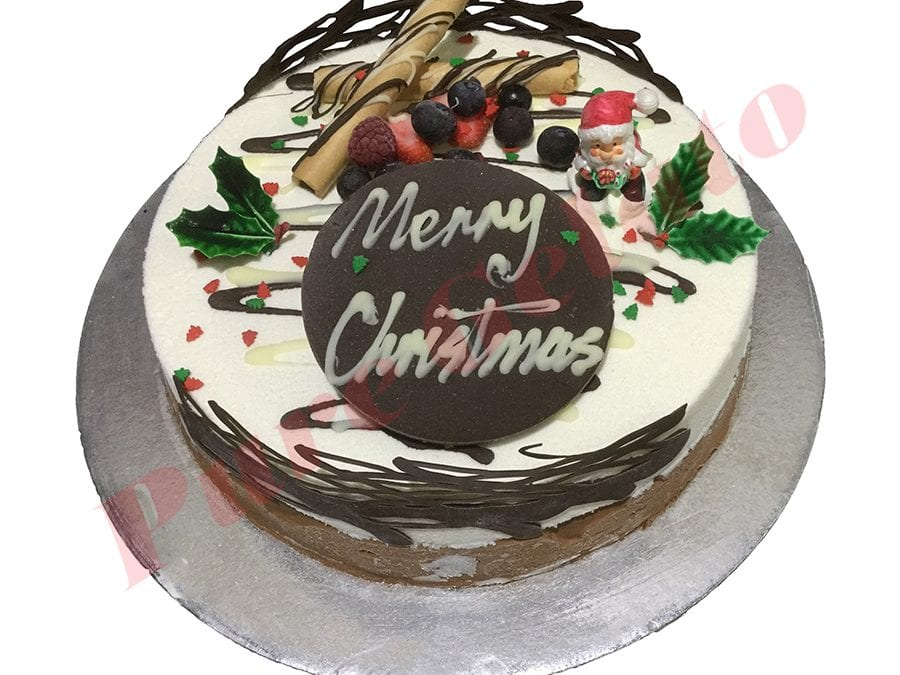 Surprising Non Cream Decorated Round Christmas Themed Pure Gelato Sydney Funny Birthday Cards Online Eattedamsfinfo