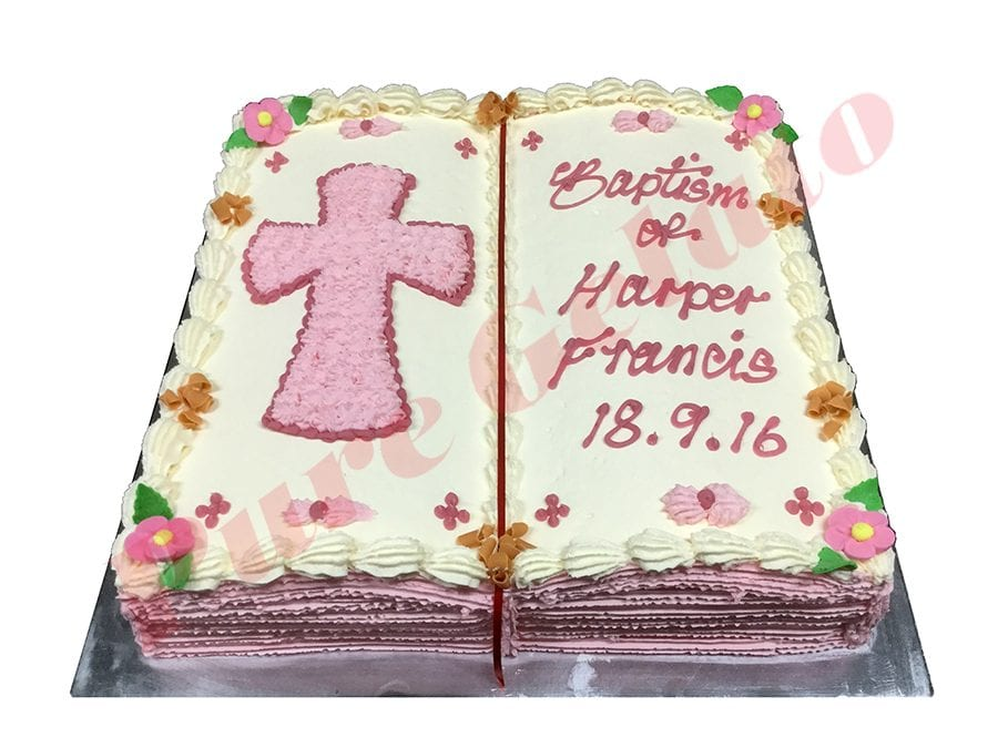 Open Bible Baptism Cake Pink Pages+Pink Cream Piped Cross