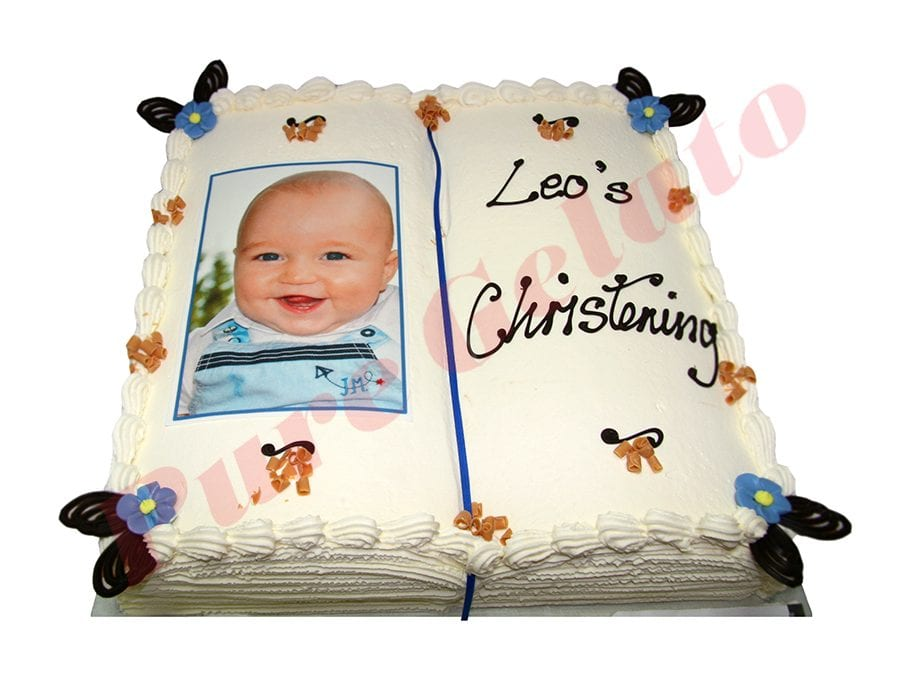 Open Bible Christening Cake White Pages Photo Image