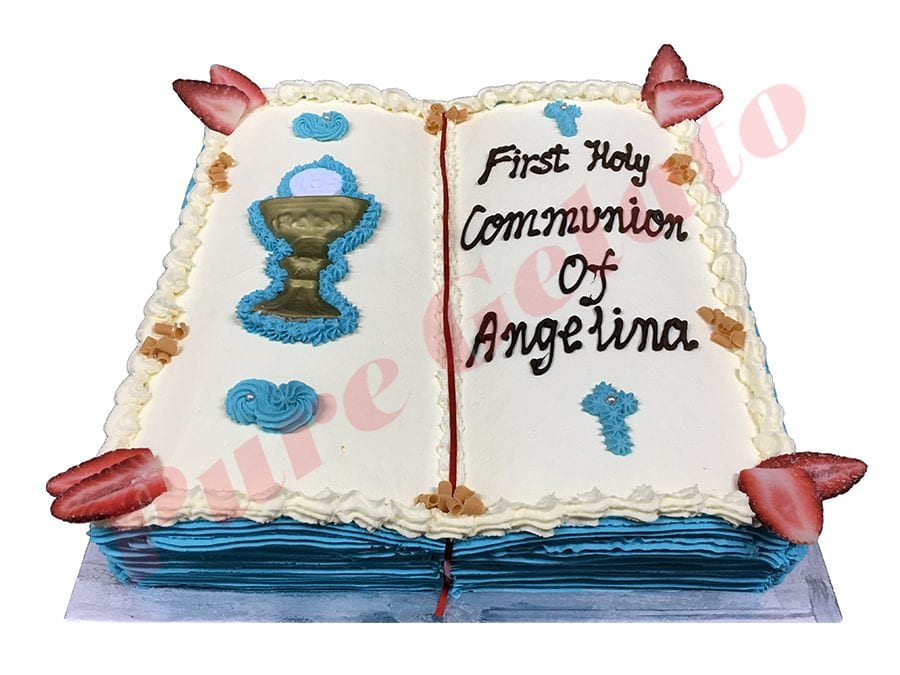 Open Bible Communion Cake Aqua Baby Blue Pages+Chalice